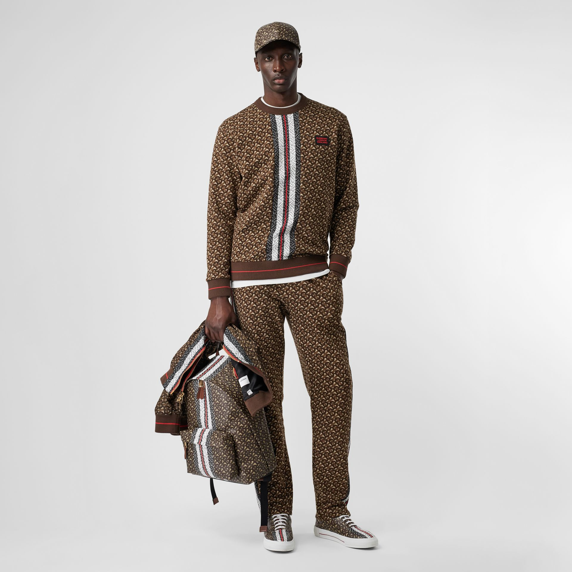 Monogram Stripe Print Cotton Sweatshirt in Bridle Brown - Men | Burberry - gallery image 0