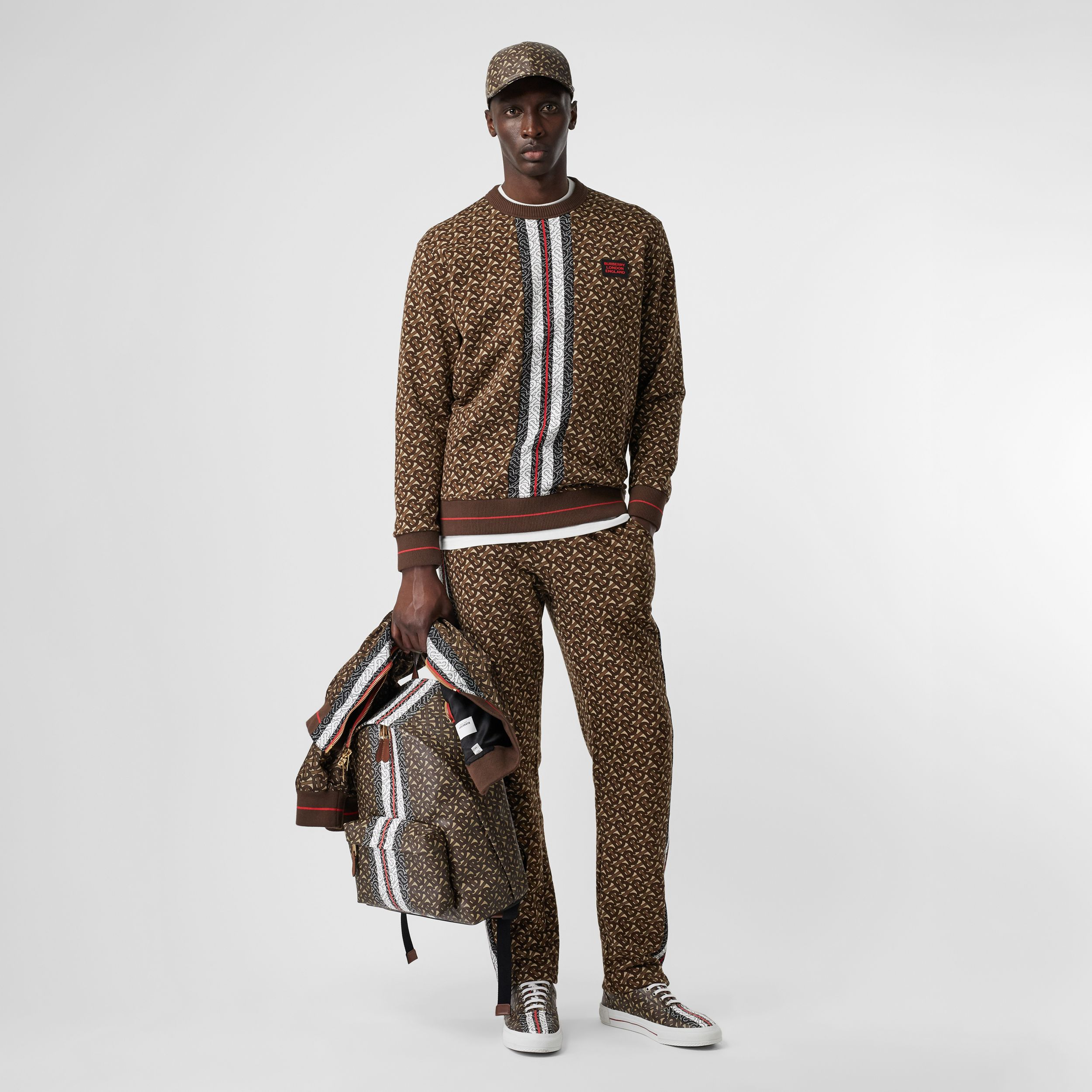 Monogram Stripe Print Cotton Sweatshirt in Bridle Brown - Men | Burberry - 1