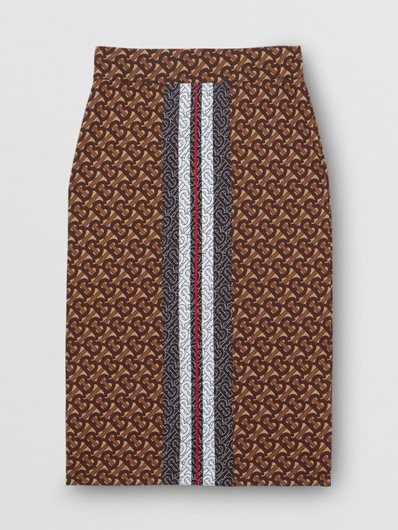 Monogram Stripe Print Stretch Jersey Pencil Skirt in Bridle Brown