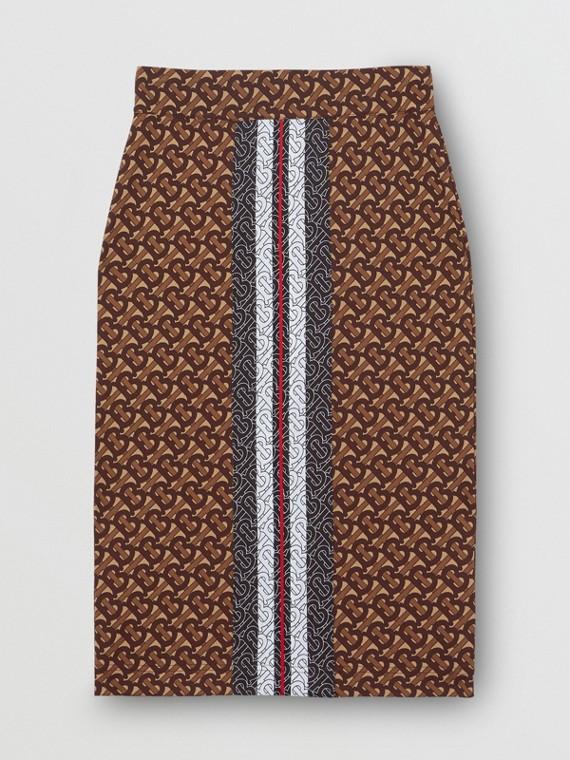 Saia lápis de malha stretch com listras e monograma (Castanho Couro)