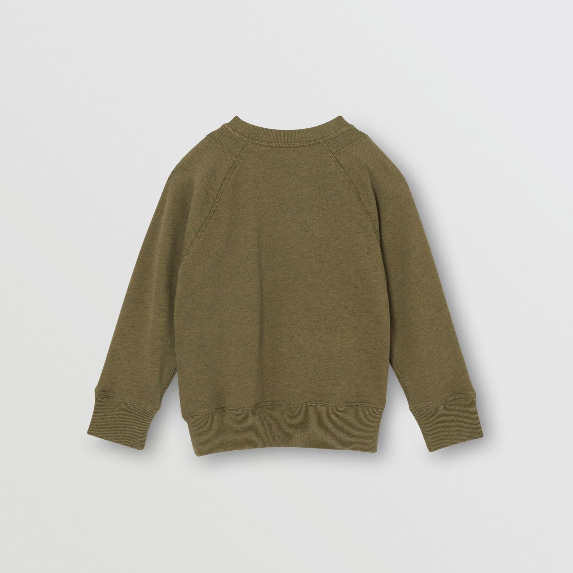 Logo Detail Cotton Sweatshirt in Military Olive | Burberry United Kingdom - gallery image 3