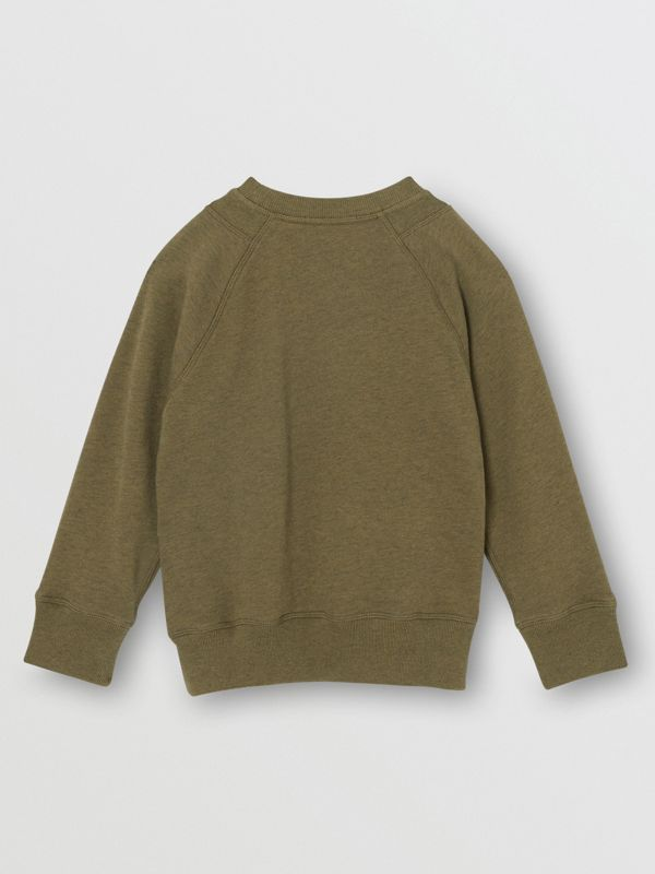 Logo Detail Cotton Sweatshirt in Military Olive | Burberry United Kingdom - cell image 3