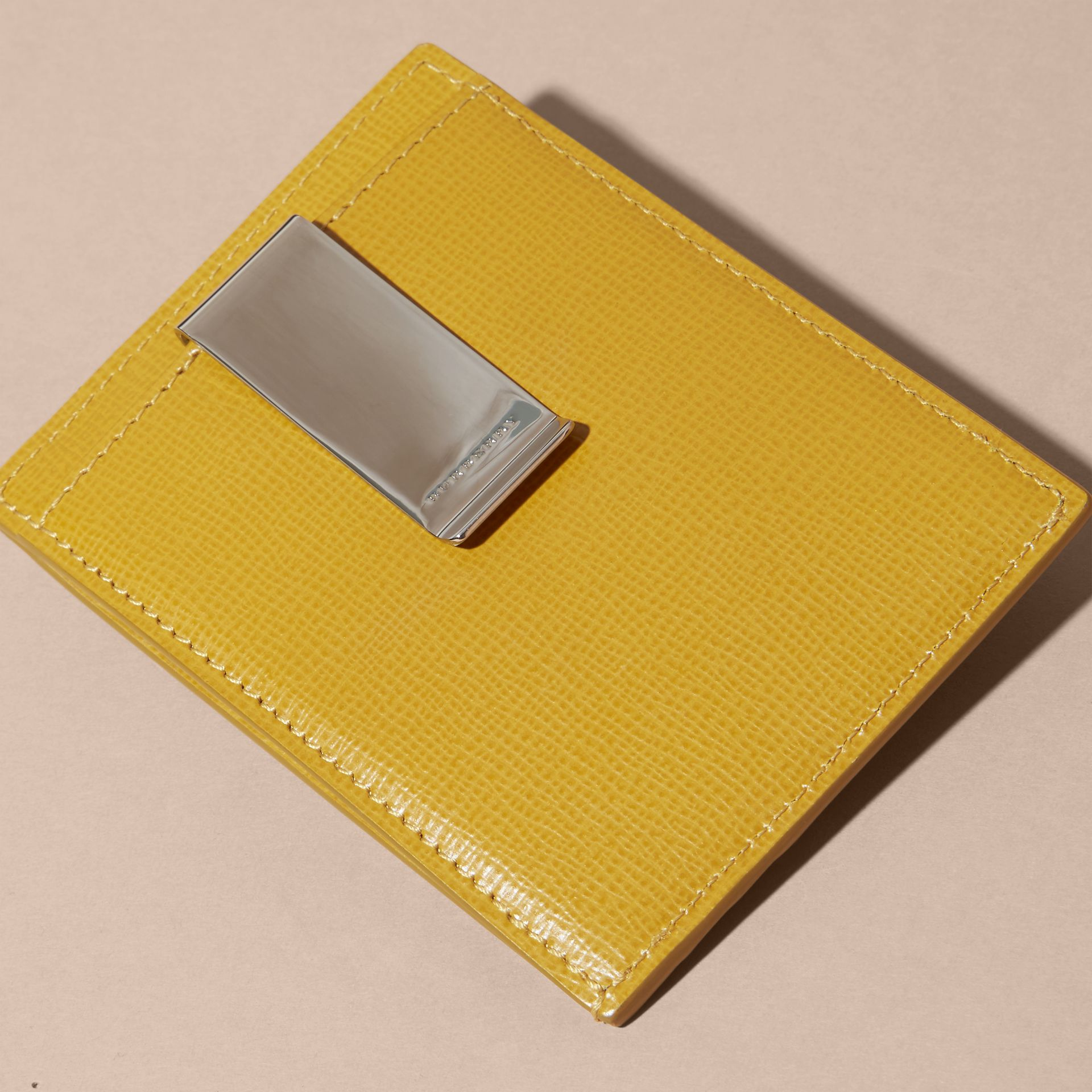 London Leather Money Clip Card Case Larch Yellow - gallery image 4