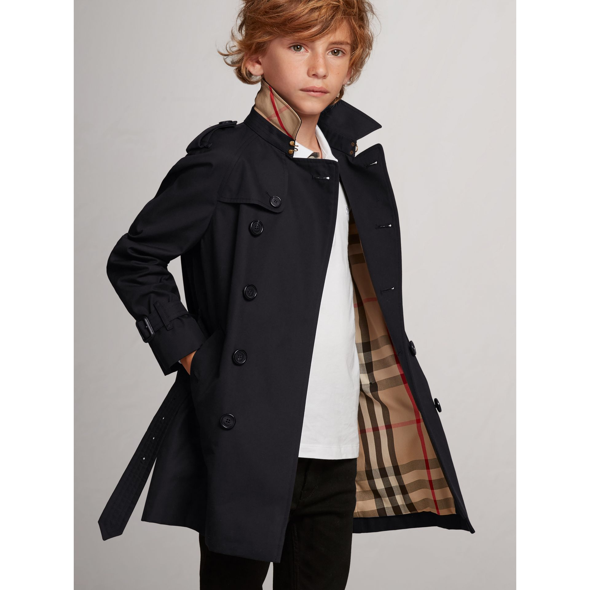 The Wiltshire Trench Coat in Navy - Boy | Burberry Australia - gallery image 2