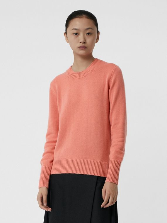 Archive Logo Appliqué Cashmere Sweater in Bright Coral Pink