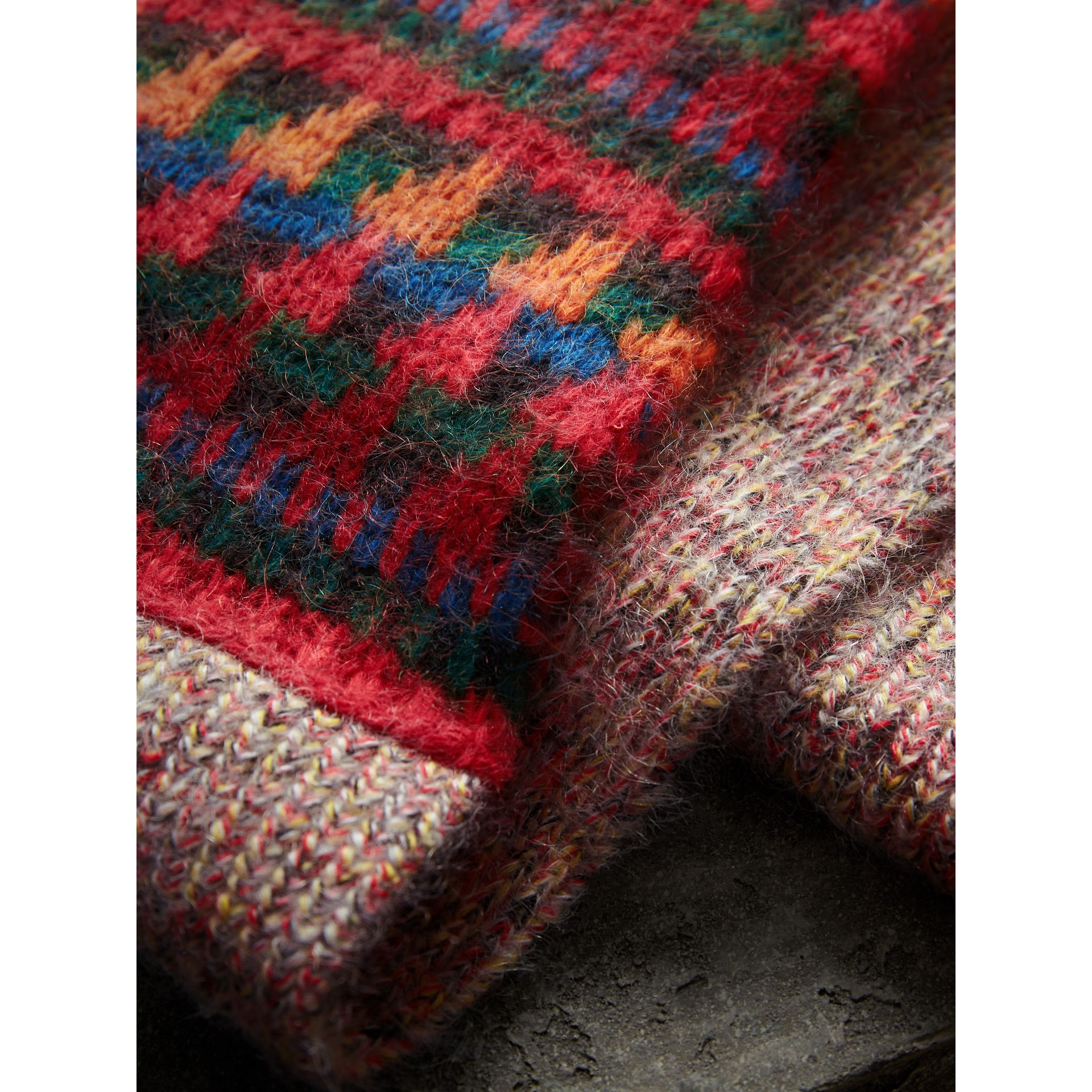 Long Patchwork Cashmere Mouliné Scarf in Multicolour | Burberry - gallery image 2
