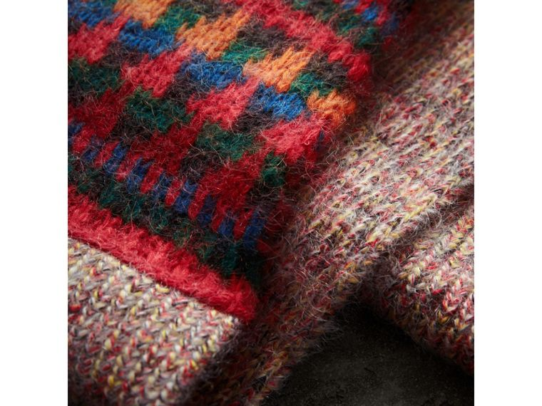 Sciarpa lunga con patchwork in cashmere mouliné (Multicolore) | Burberry - cell image 1