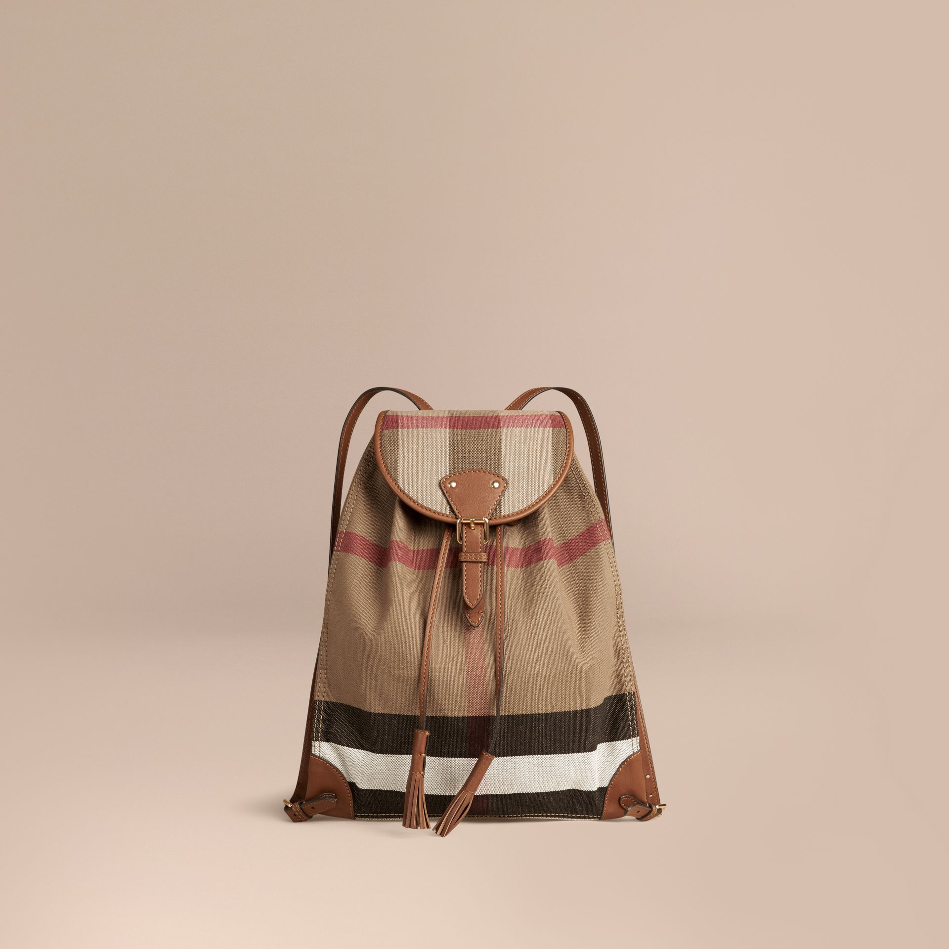 Tan Canvas Check Backpack with Leather Trim Tan - gallery image 1