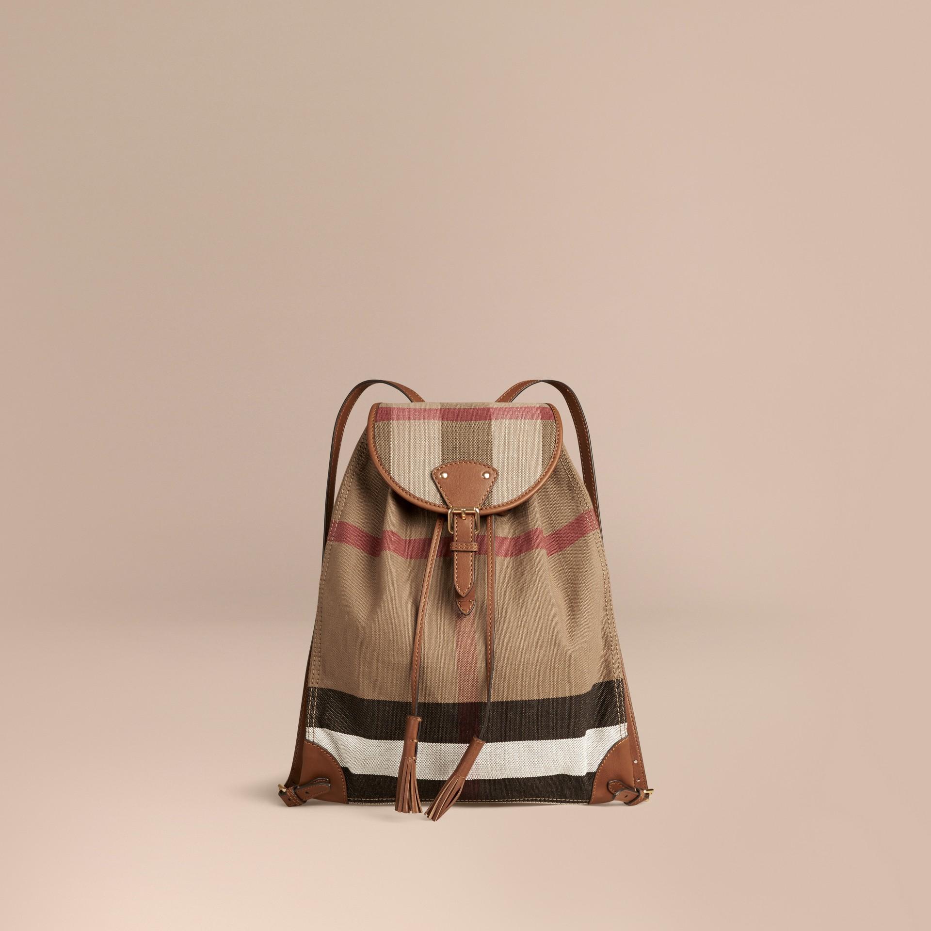 Hâle Sac à dos en tissu Canvas Check avec éléments en cuir Hâle - photo de la galerie 1