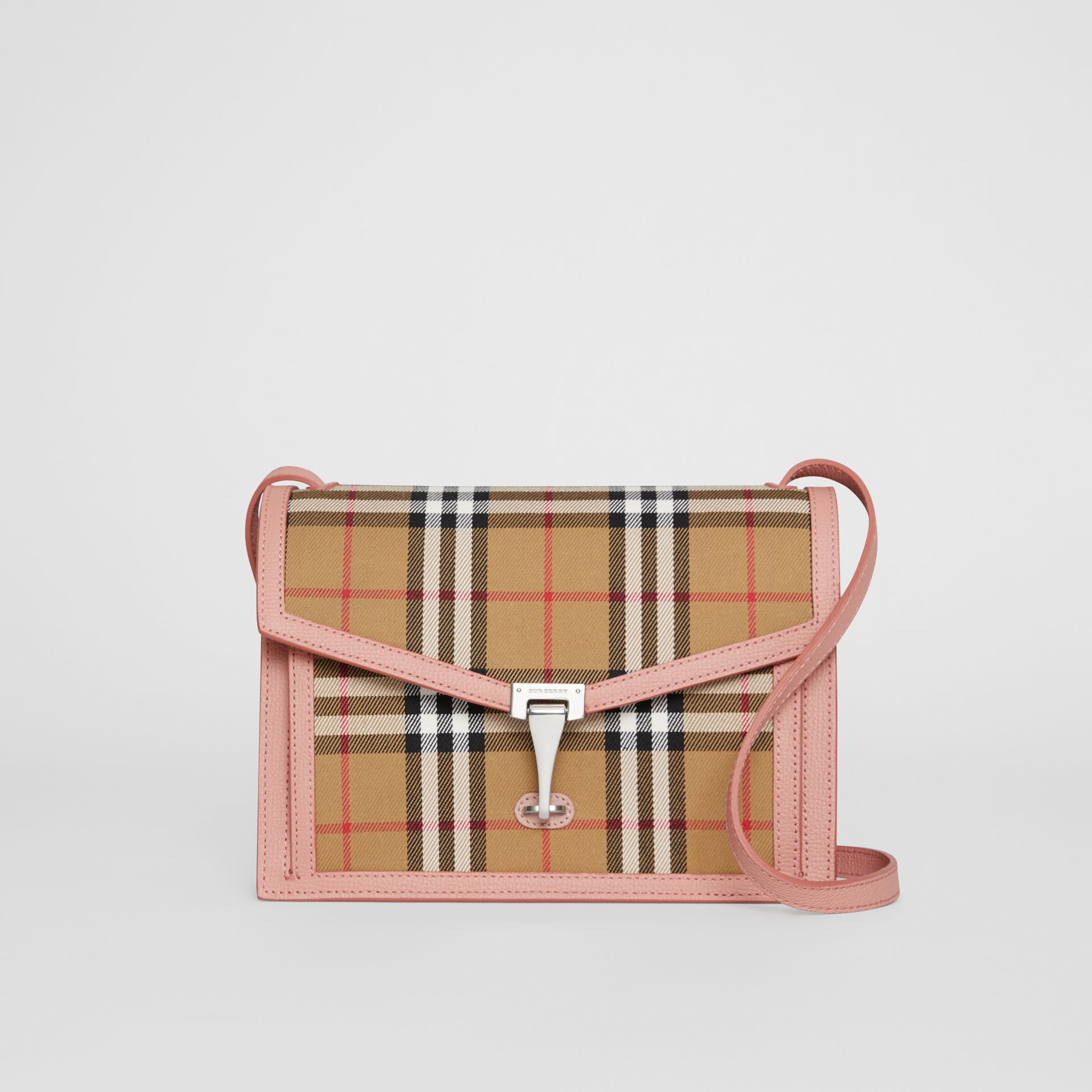 Small Vintage Check and Leather Crossbody Bag in Ash Rose - Women | Burberry - gallery image 0