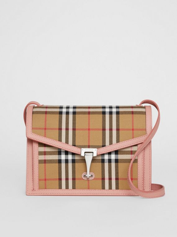 Small Vintage Check and Leather Crossbody Bag in Ash Rose