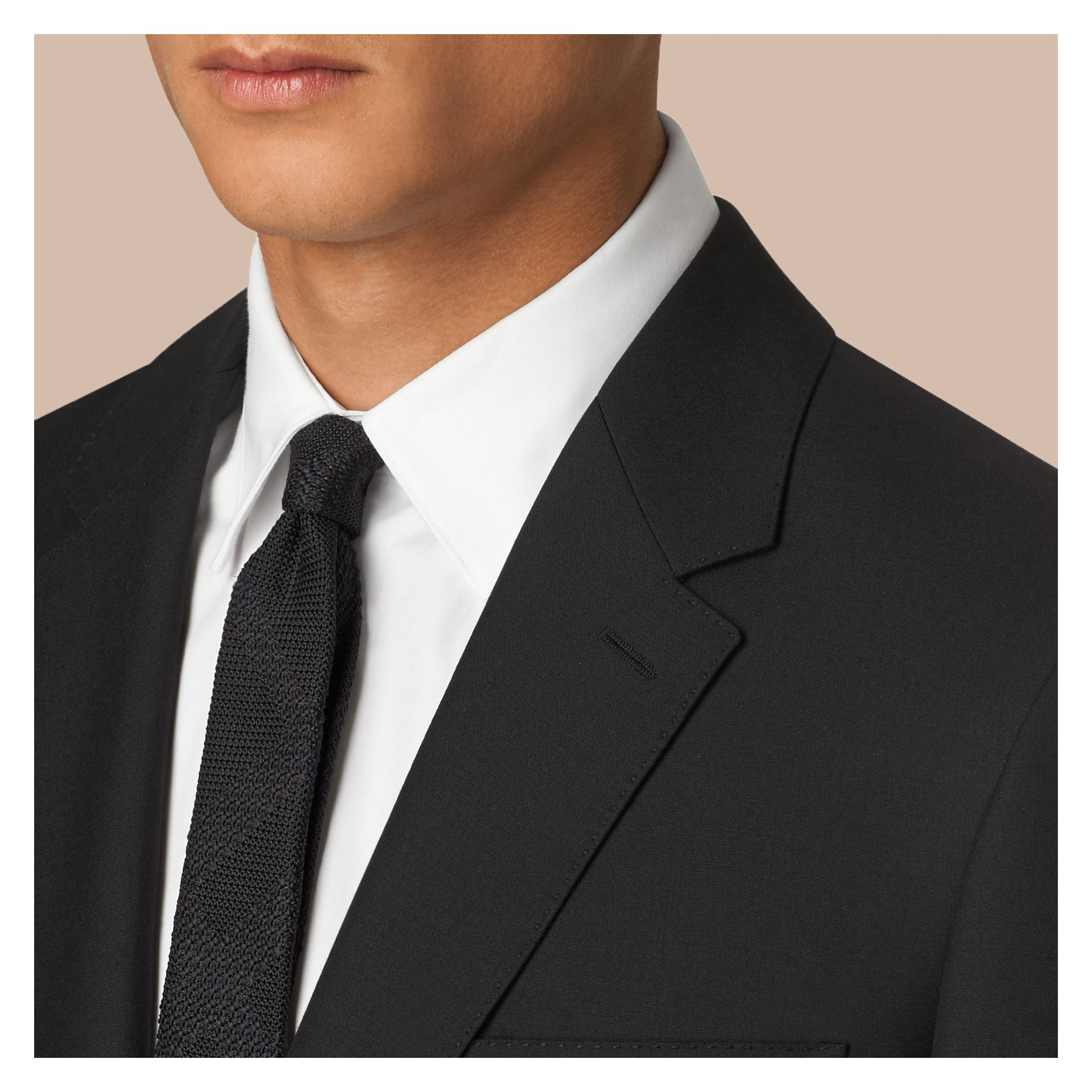 Black Classic Fit Wool Part-canvas Suit Black - gallery image 4
