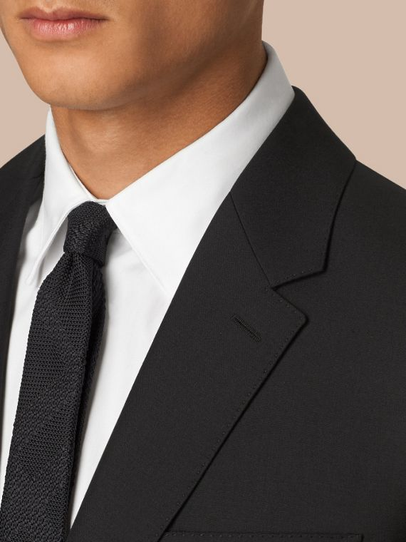 Black Classic Fit Wool Part-canvas Suit Black - cell image 3