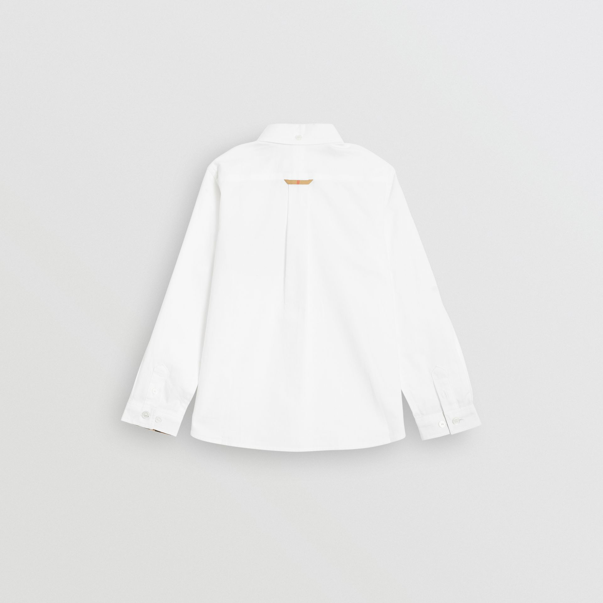 Check Detail Cotton Oxford Shirt in White | Burberry Canada - gallery image 3