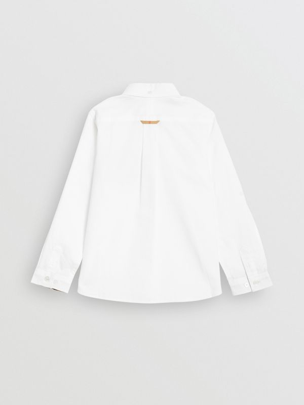 Check Detail Cotton Oxford Shirt in White | Burberry United Kingdom - cell image 3