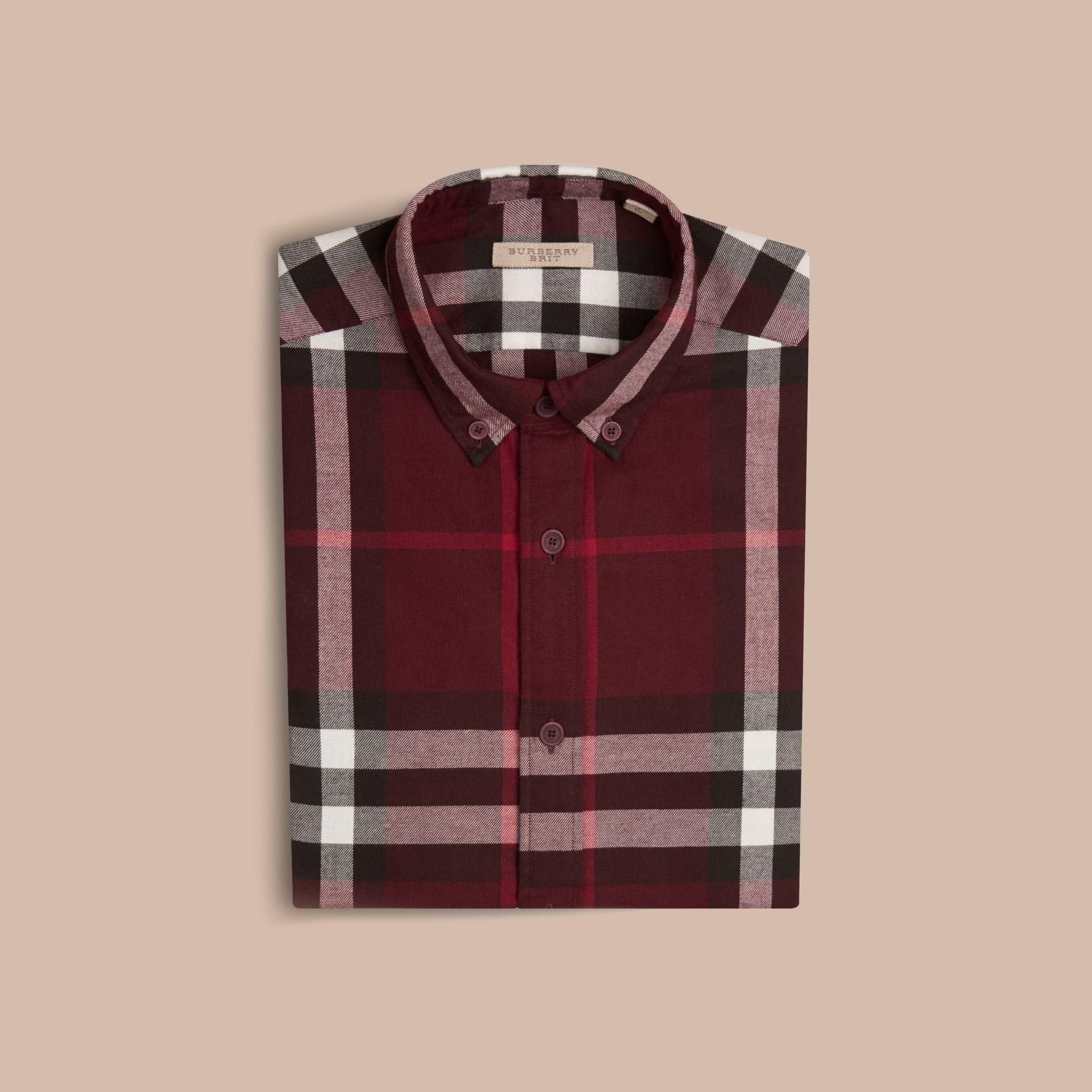 Claret Check Cotton Flannel Shirt Claret - gallery image 4
