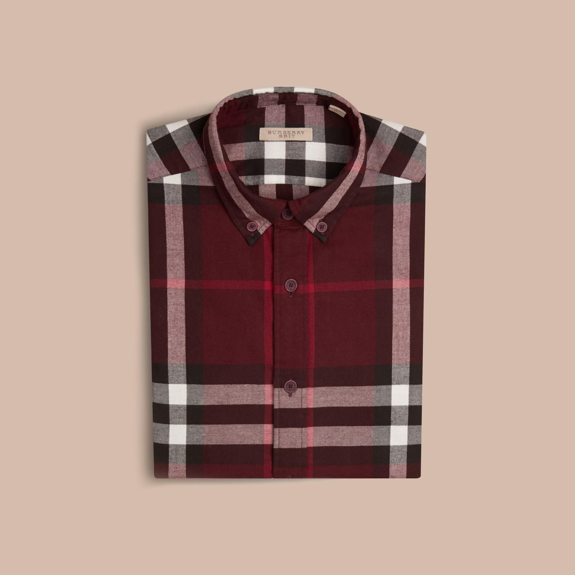 Weinrot Hemd aus Baumwollflanell mit Check-Muster Weinrot - Galerie-Bild 4