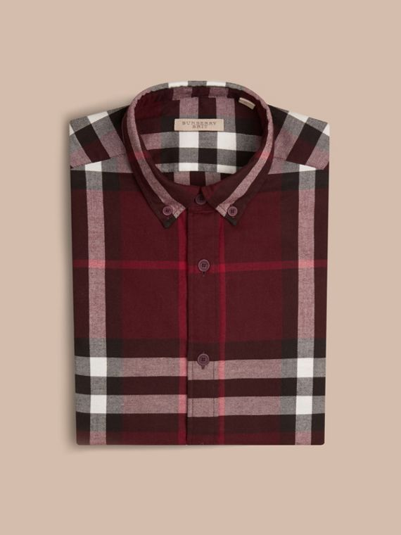 Claret Check Cotton Flannel Shirt Claret - cell image 3