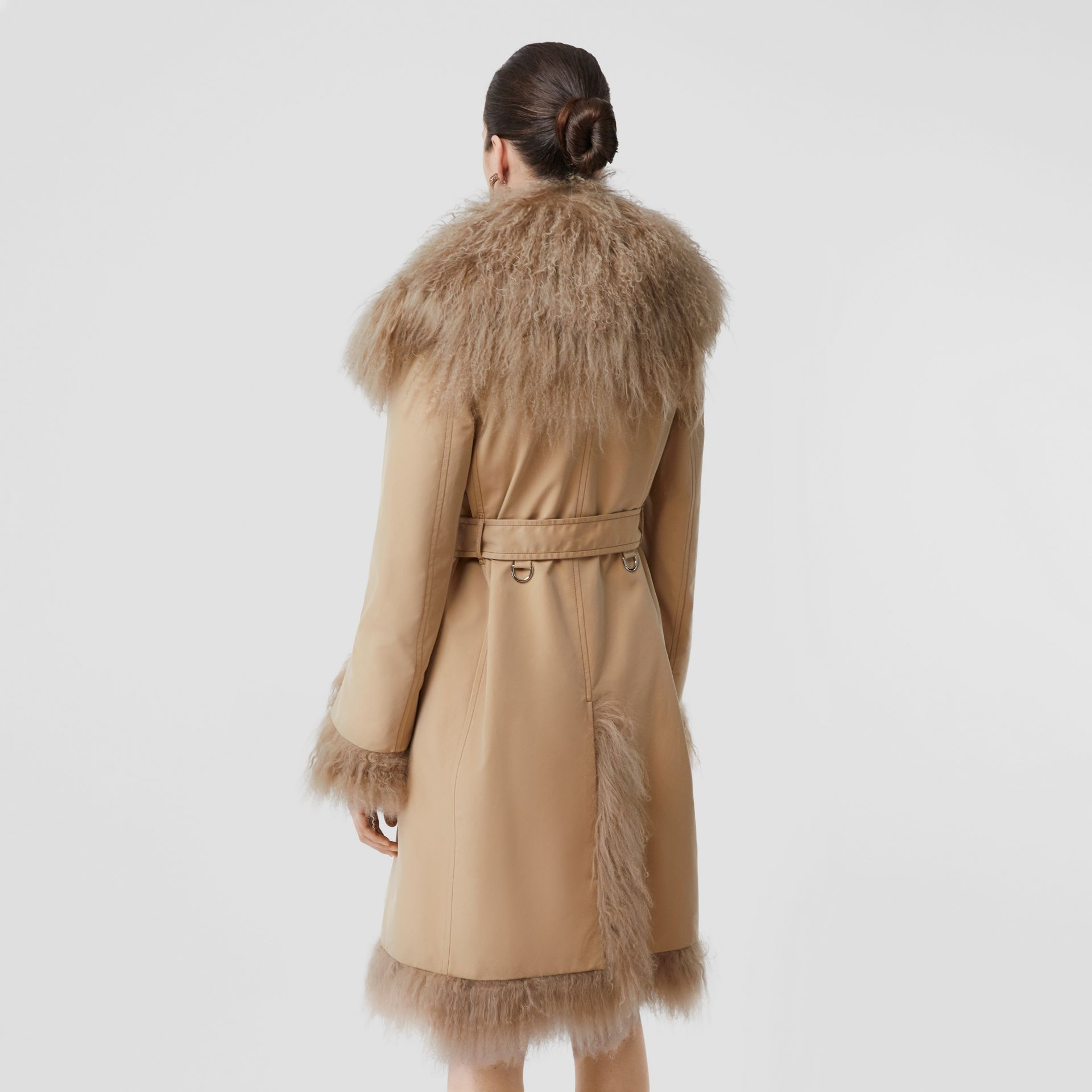 Shearling Trim Cotton Gabardine Belted Trench Coat in Honey - Women | Burberry - gallery image 2