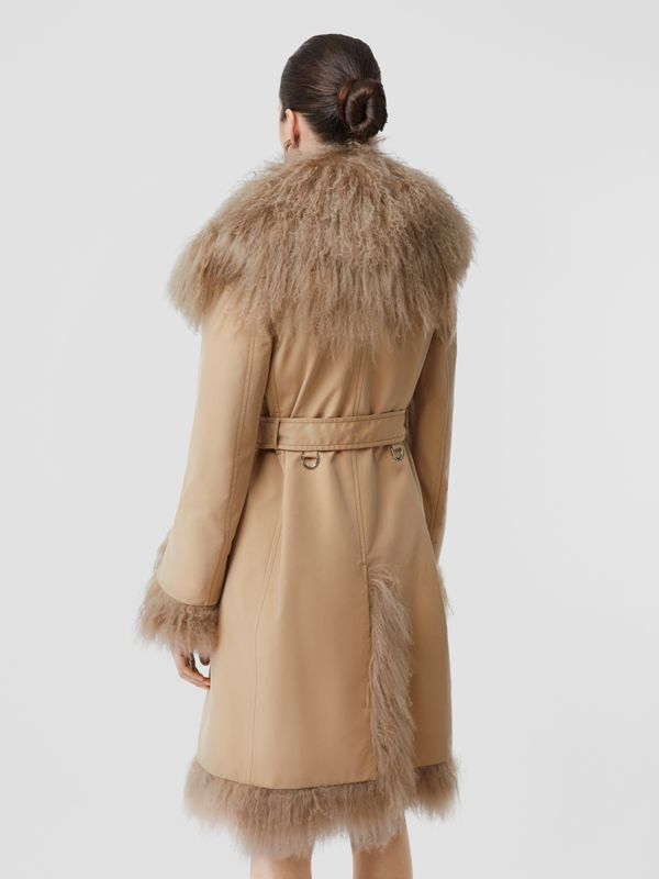Shearling Trim Cotton Gabardine Belted Trench Coat in Honey - Women | Burberry - cell image 2