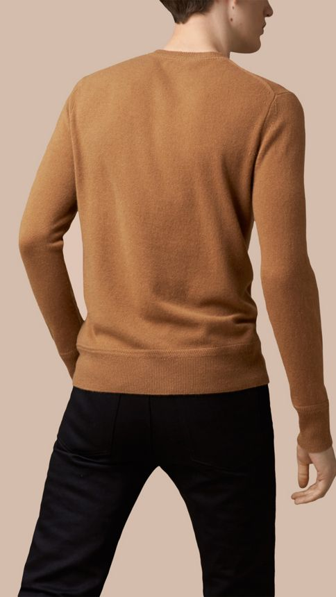 Mid camel Heritage Detail Cashmere Sweater - Image 2