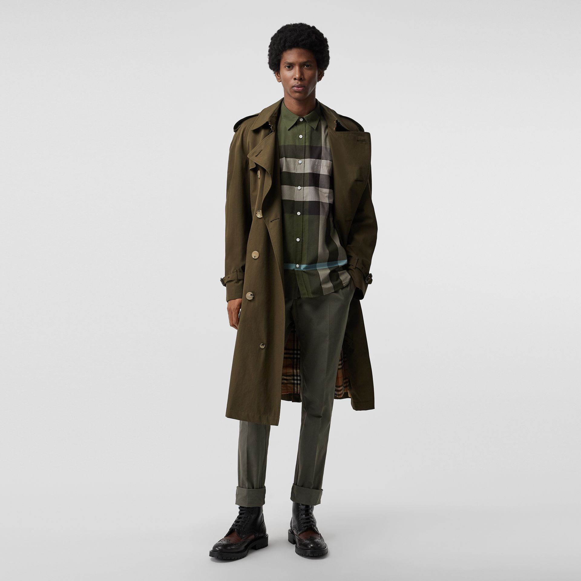 Check Stretch Cotton Shirt in Antique Green - Men | Burberry - gallery image 4
