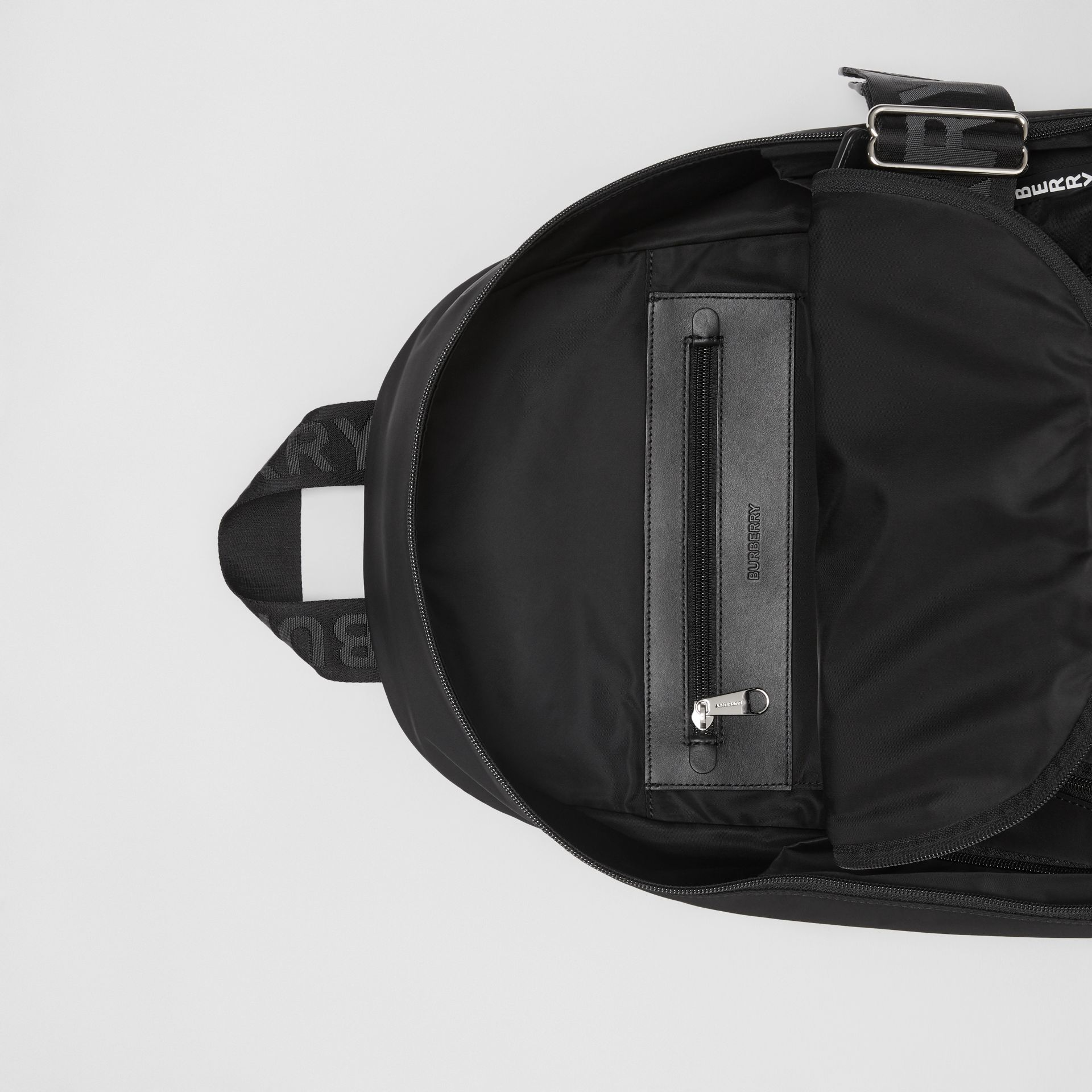 Large Logo Detail Nylon Backpack in Black - Men | Burberry - gallery image 4