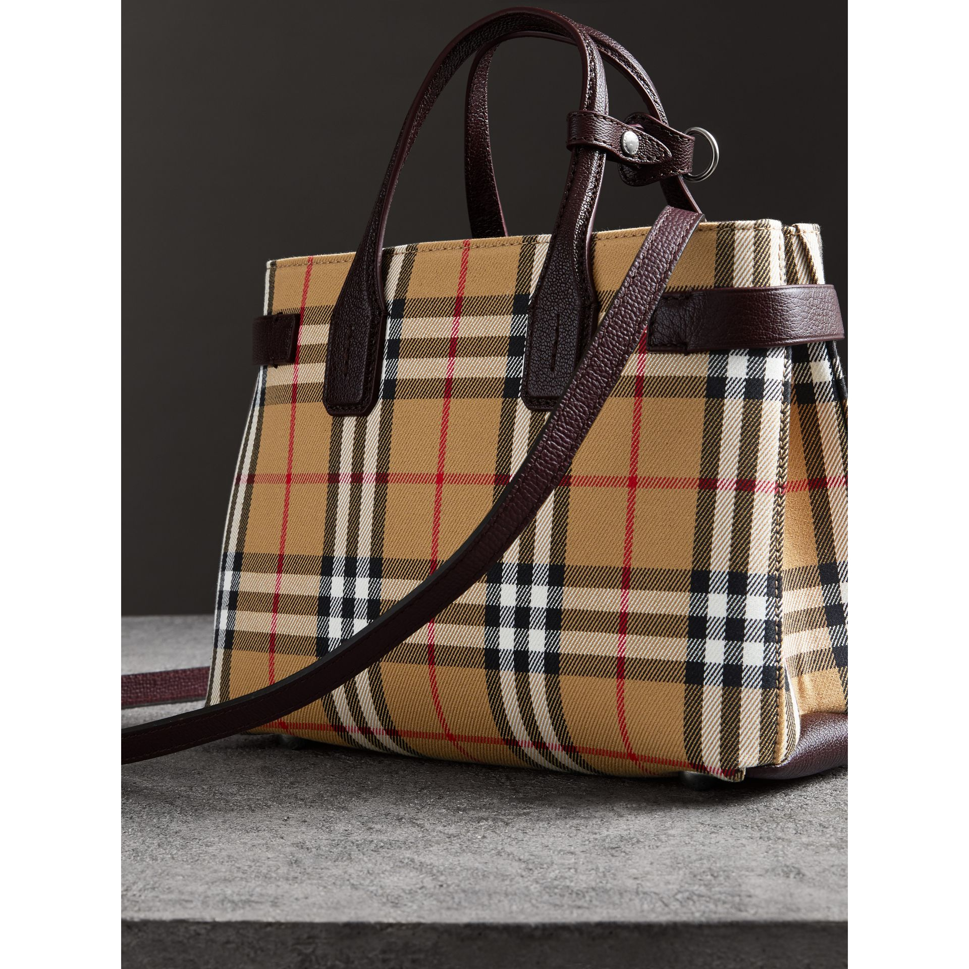 The Small Banner in Vintage Check and Leather in Deep Claret - Women | Burberry United Kingdom - gallery image 4