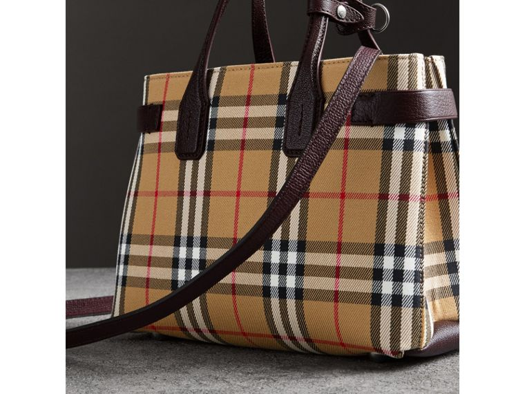 The Small Banner in Vintage Check and Leather in Deep Claret - Women | Burberry - cell image 4