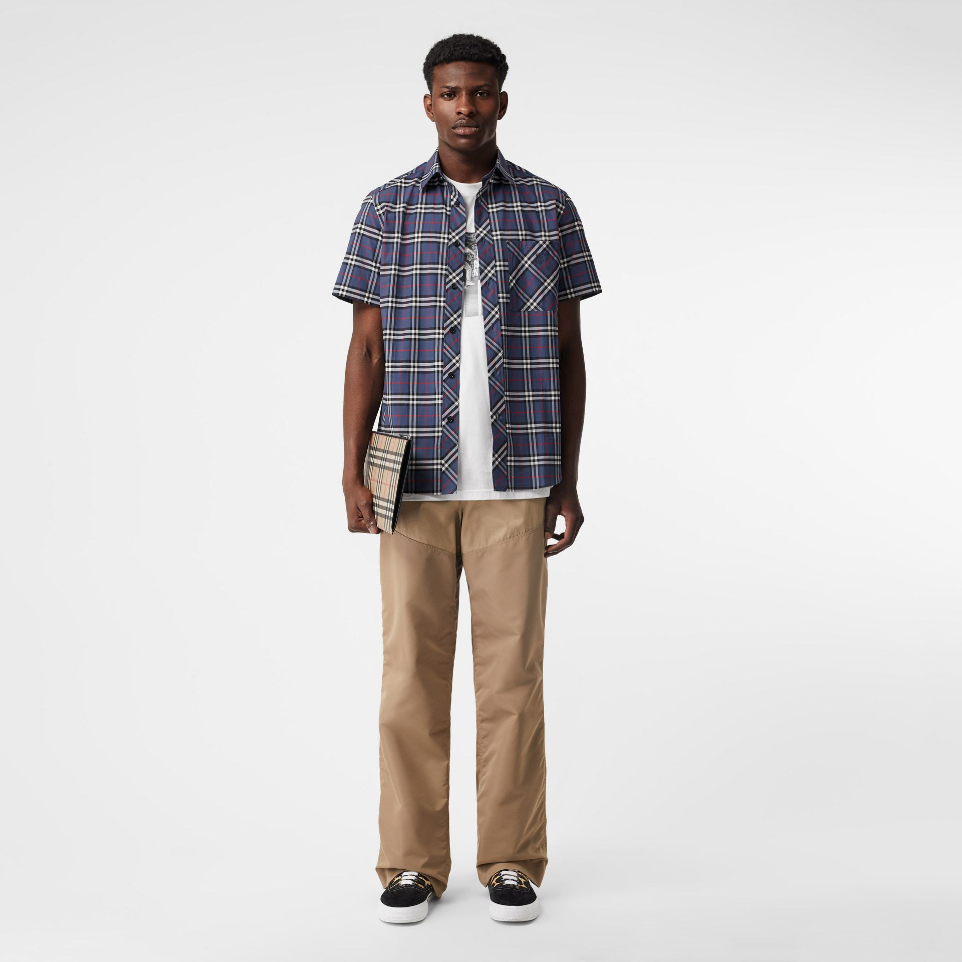 Short-sleeve Small Scale Check Stretch Cotton Shirt in Carbon Blue - Men | Burberry Australia - gallery image 0