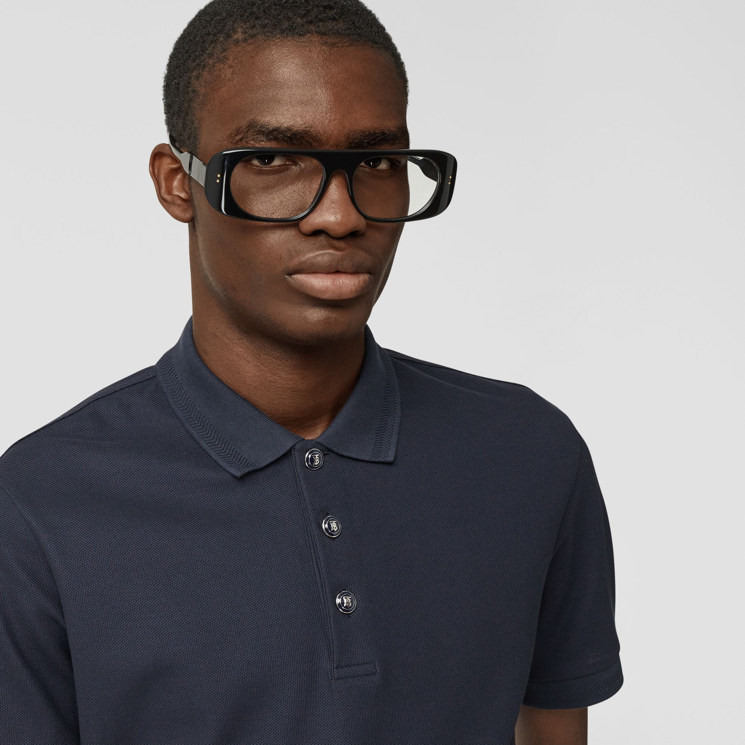 Cotton Piqué Polo Shirt in Navy - Men | Burberry - 2