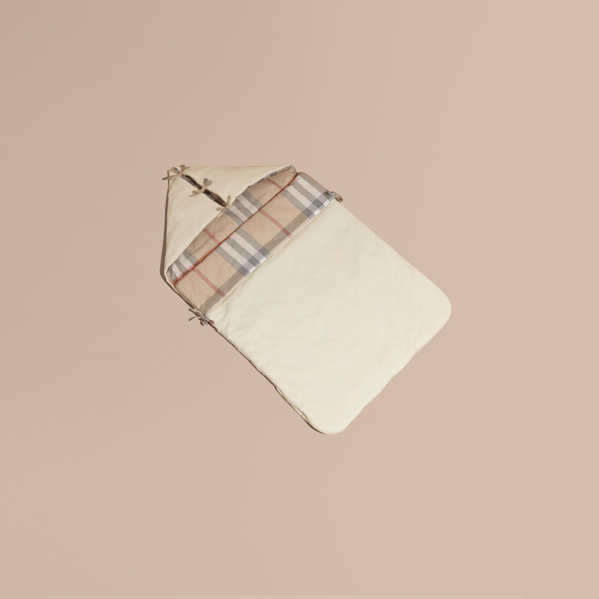 Check-Lined Baby Nest in Off White - Girl | Burberry - gallery image 1