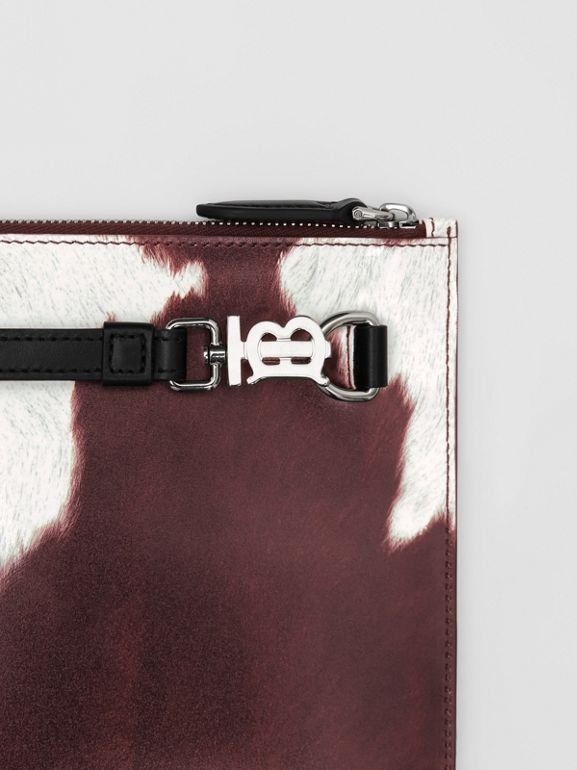 Cow Print Leather Zip Pouch in Mahogany - Women | Burberry United States - cell image 1