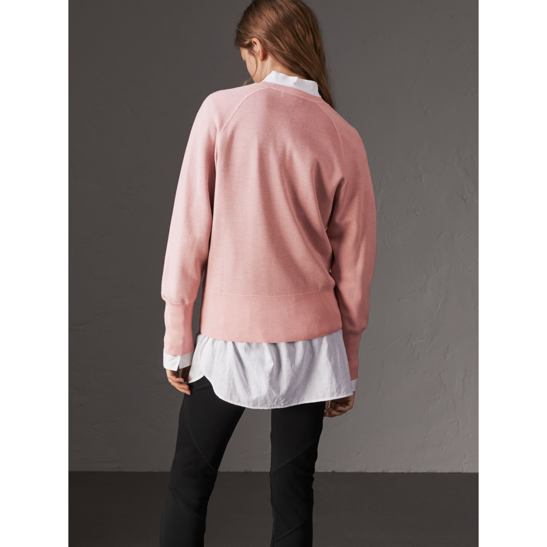 Lightweight Merino Wool Silk Sweater in Ash Rose - Women | Burberry - gallery image 3