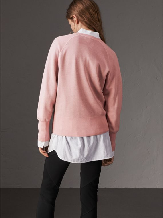 Lightweight Merino Wool Silk Sweater in Ash Rose - Women | Burberry - cell image 2