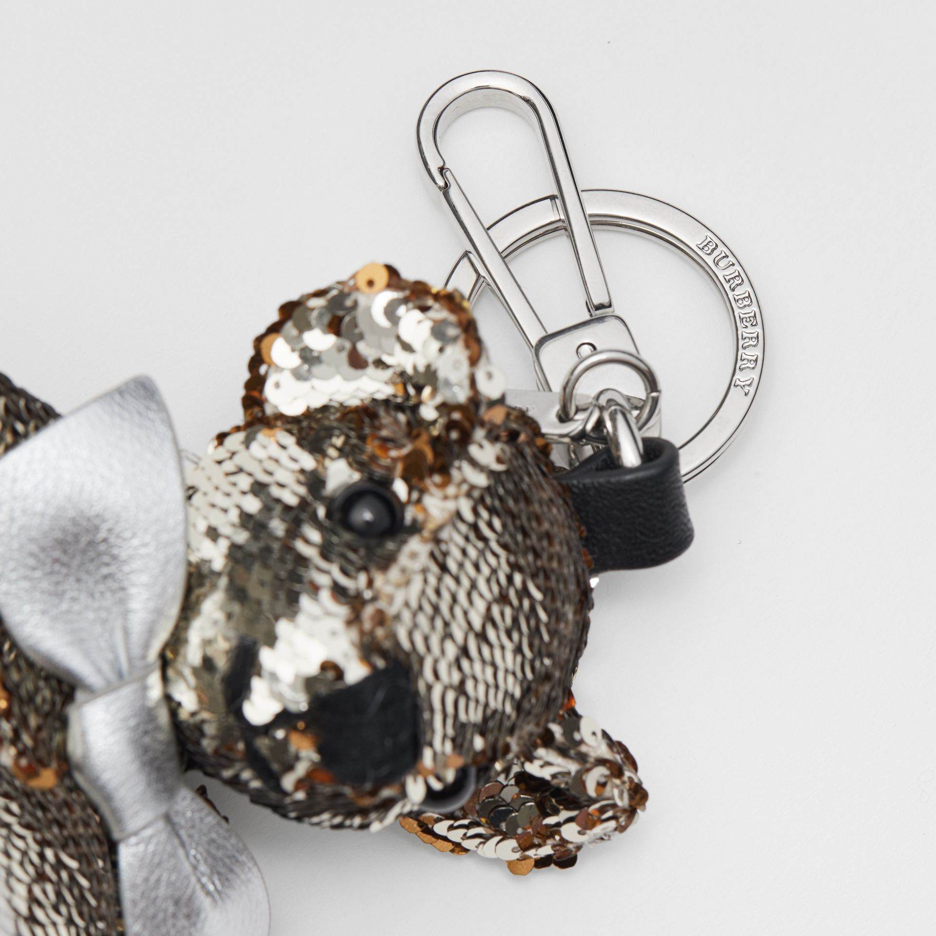 Thomas Bear Charm in Sequins and Leather in Silver | Burberry United Kingdom - gallery image 1