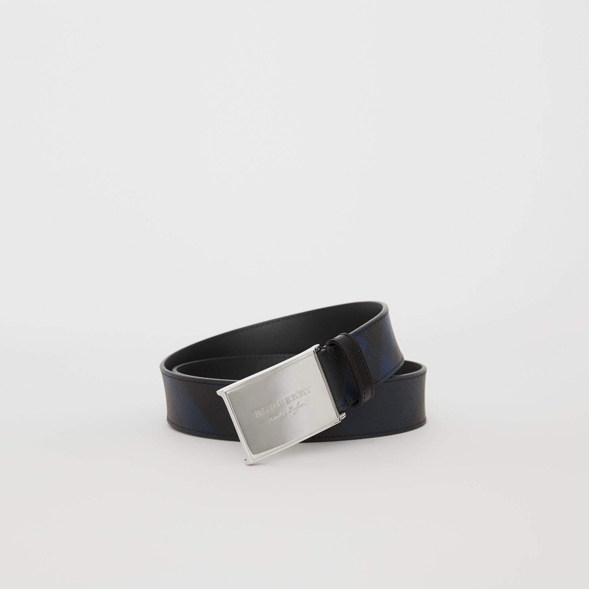 Plaque Buckle London Check and Leather Belt in Navy/black - Men | Burberry Singapore - gallery image 0