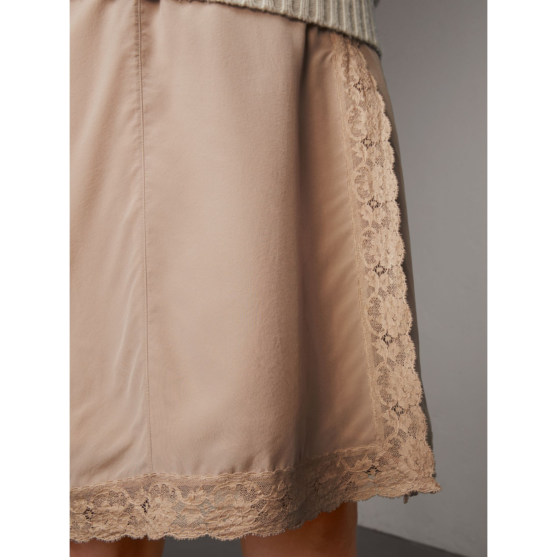 Lace Trim Silk Skirt - Women | Burberry - gallery image 2