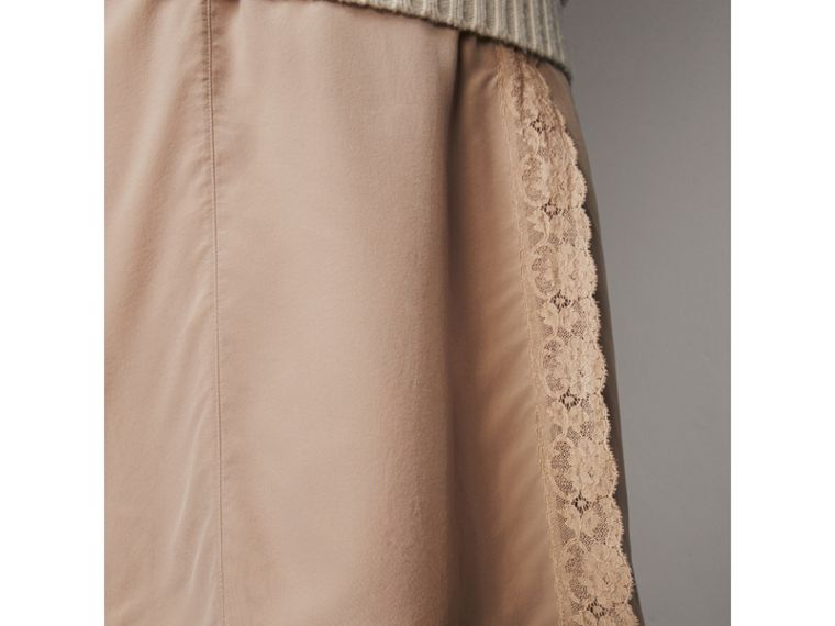 Lace Trim Silk Skirt - Women | Burberry - cell image 1