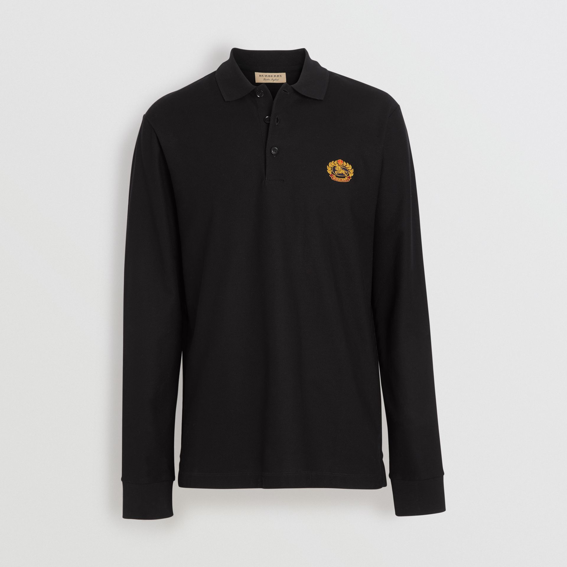 Long-sleeve Archive Logo Cotton Piqué Polo Shirt in Black - Men | Burberry - gallery image 3