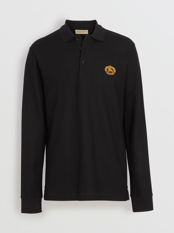 Long-sleeve Archive Logo Cotton Piqué Polo Shirt in Black - Men | Burberry United Kingdom - cell image 3