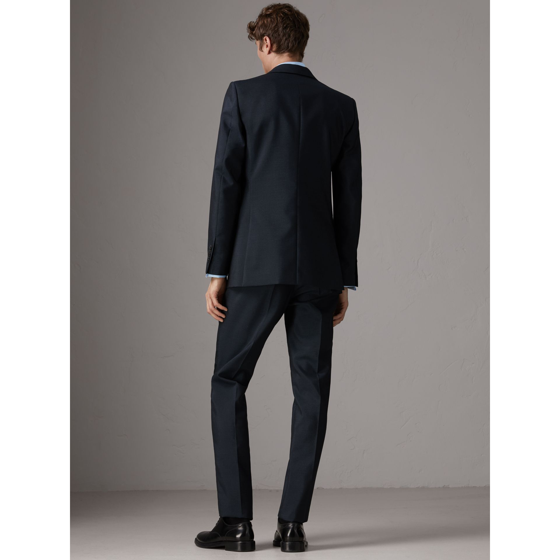 Slim Fit Wool Half-canvas Tuxedo in Navy - Men | Burberry United Kingdom - gallery image 3