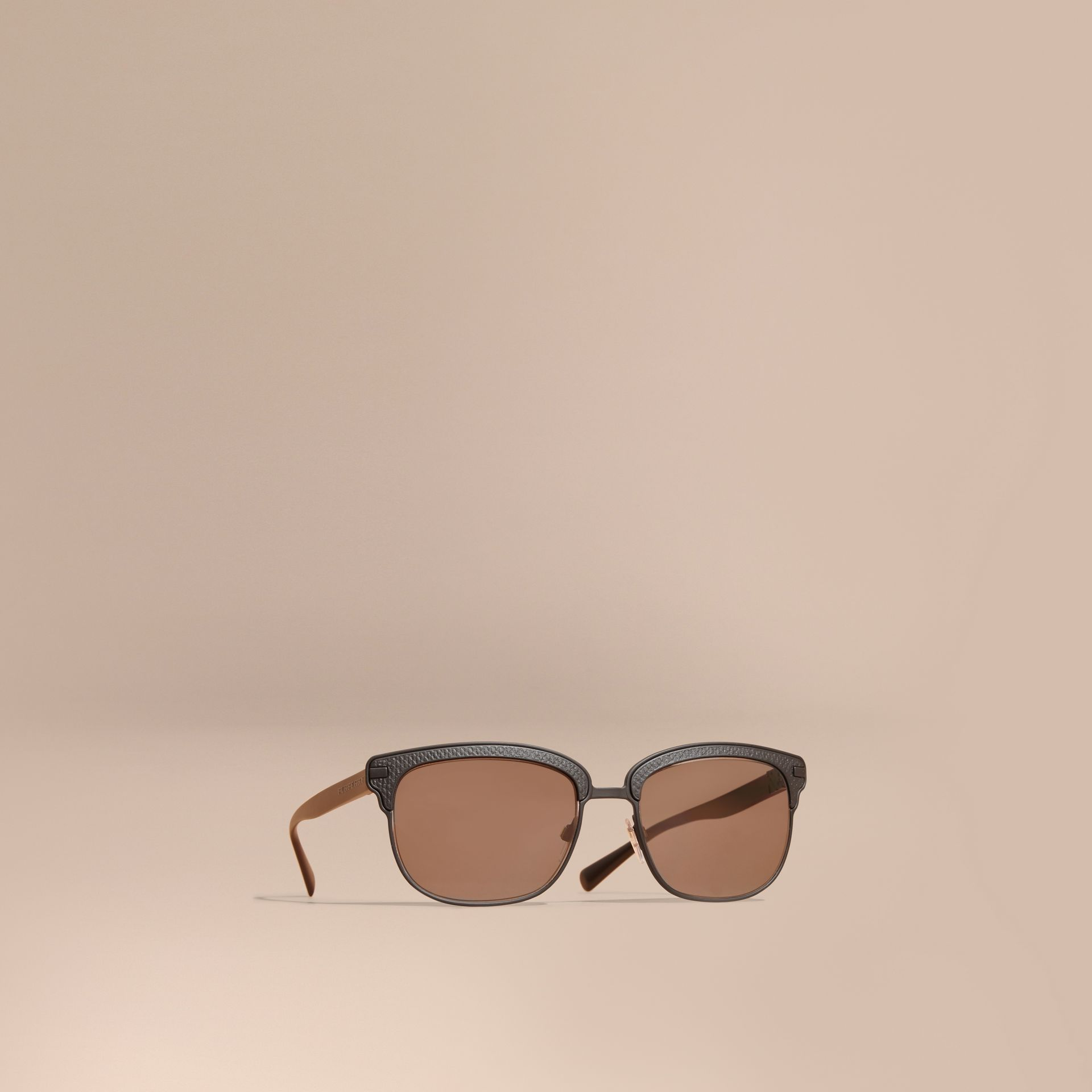 Textured Front Square Frame Sunglasses in Black - Men | Burberry United States - gallery image 0