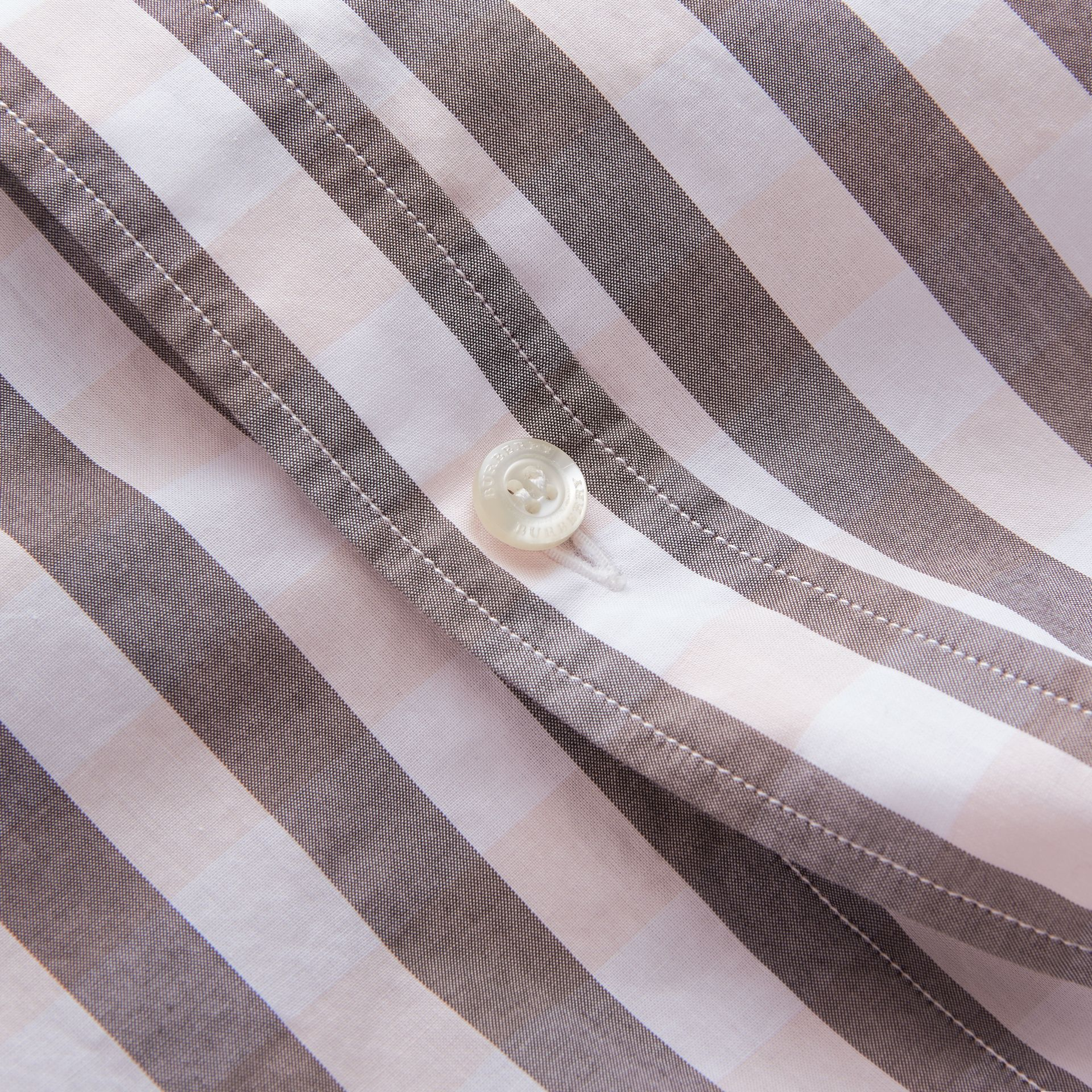 Button-down Collar Gingham Cotton Shirt in Chalk Pink - Men | Burberry - gallery image 2