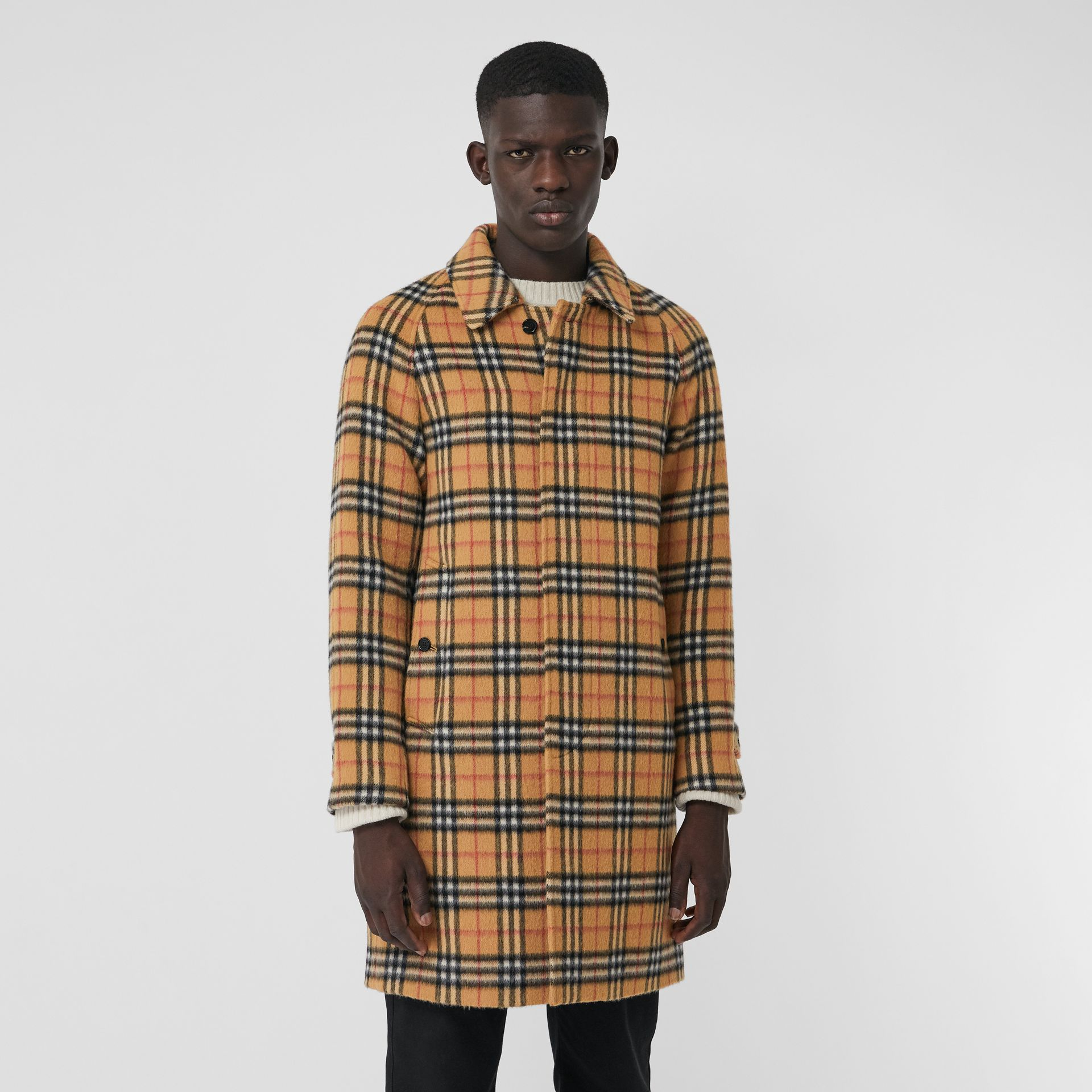 Vintage Check Alpaca Wool Car Coat in Antique Yellow - Men | Burberry United States - gallery image 6