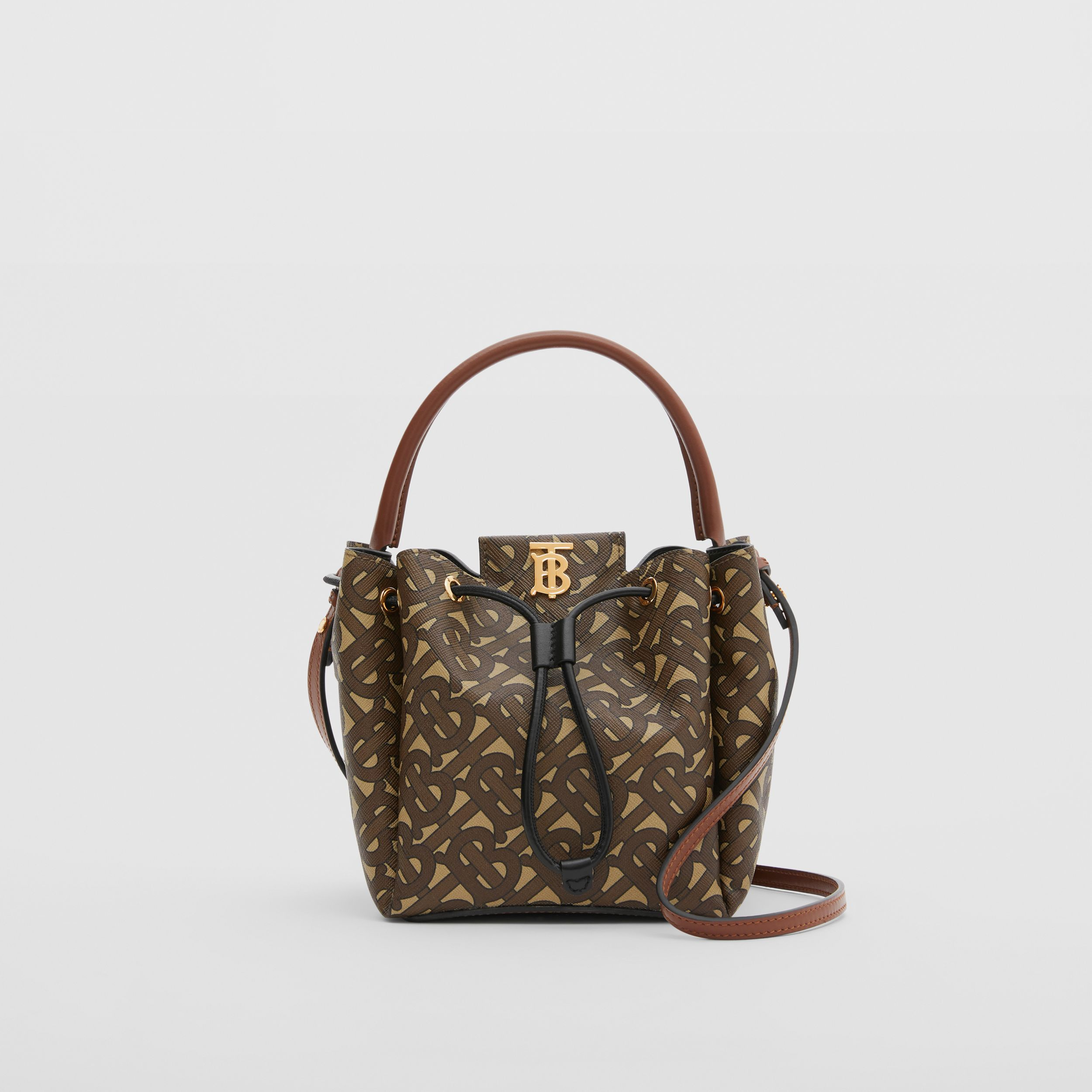 Monogram E-canvas Bucket Bag in Bridle Brown - Women | Burberry - 1