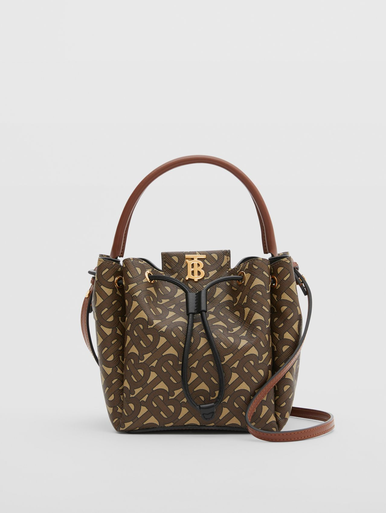 Monogram E-canvas Bucket Bag in Bridle Brown