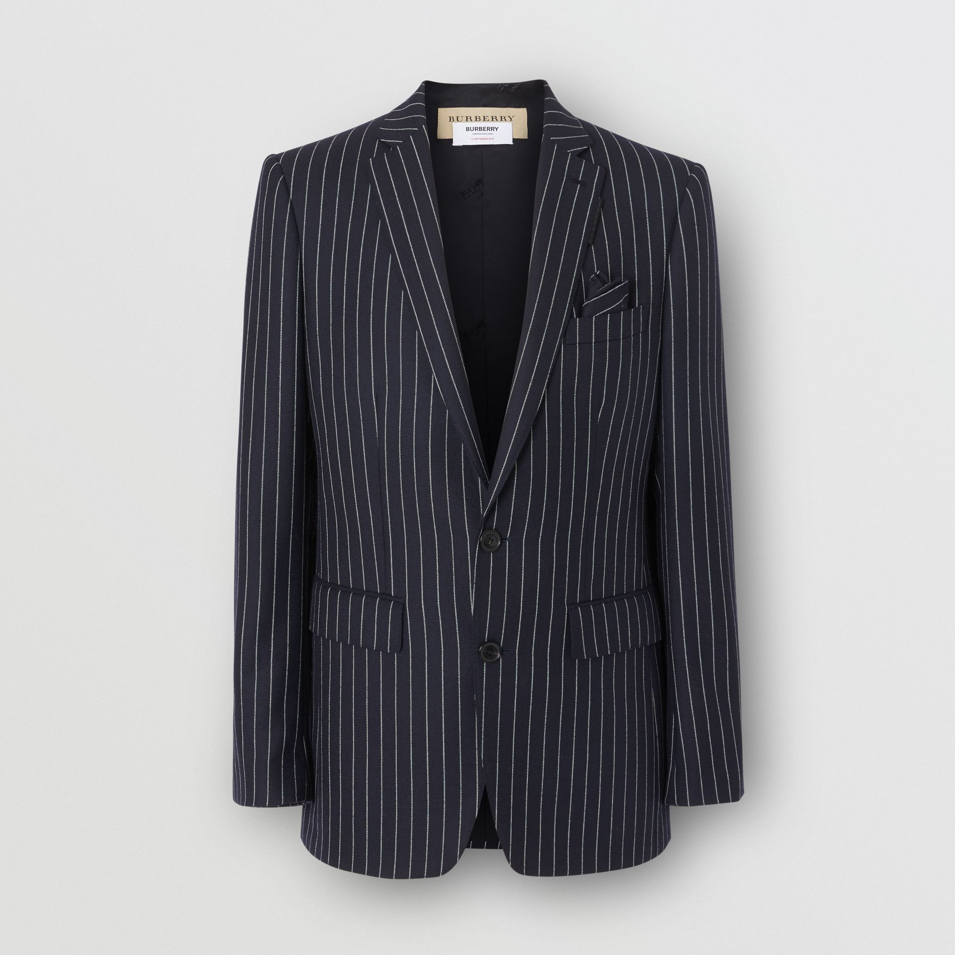 English Fit Pinstriped Wool Tailored Jacket in Dark Navy/white | Burberry Australia - gallery image 3