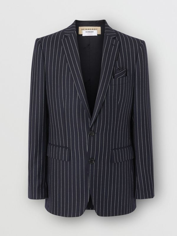 English Fit Pinstriped Wool Tailored Jacket in Dark Navy/white | Burberry Australia - cell image 3