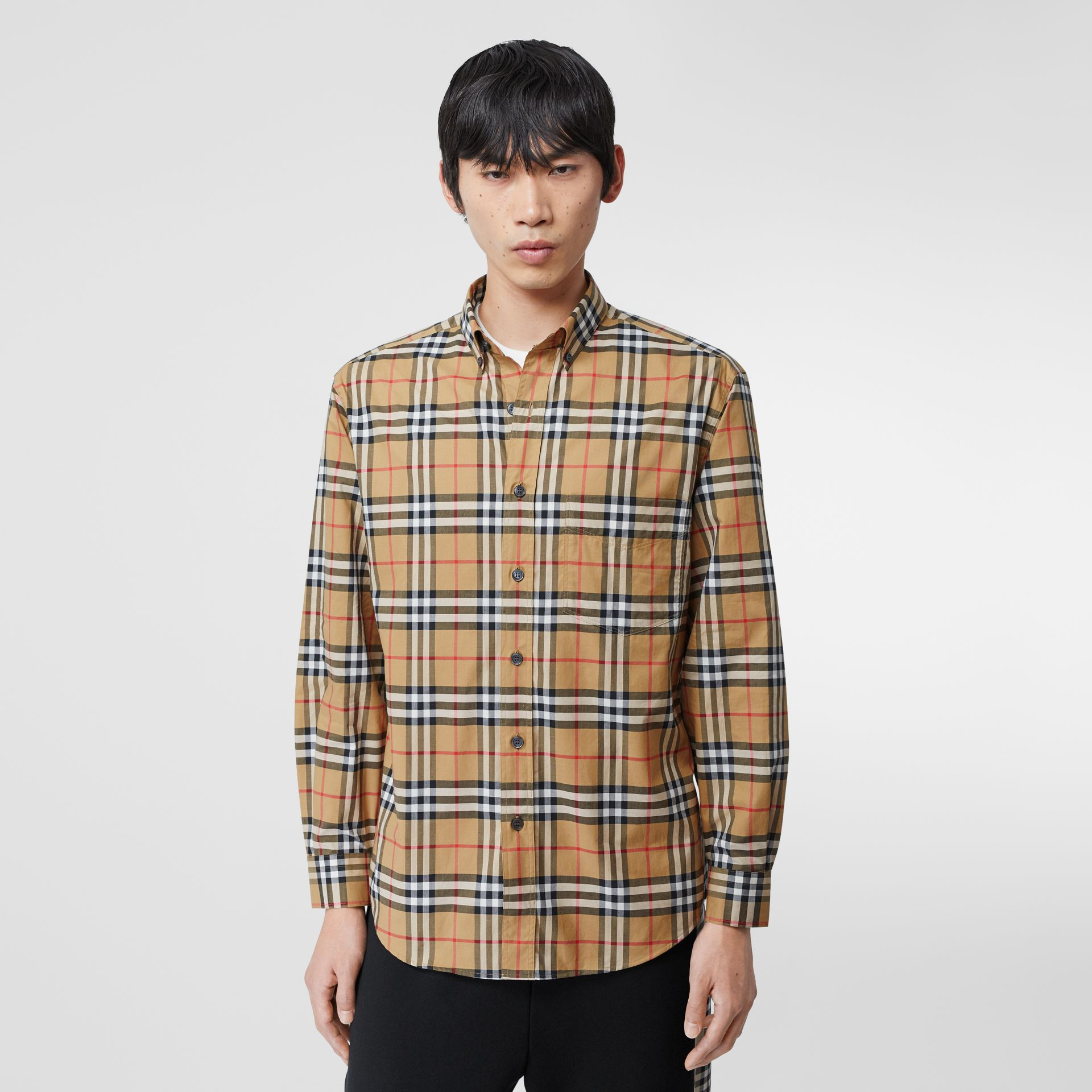 Button-down Collar Vintage Check Cotton Shirt in Antique Yellow - Men | Burberry United Kingdom - gallery image 4